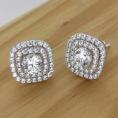 Stud Earring Dual Halo Hoop 1.20Ct Round Forever Diamond 925 Sterling Silver