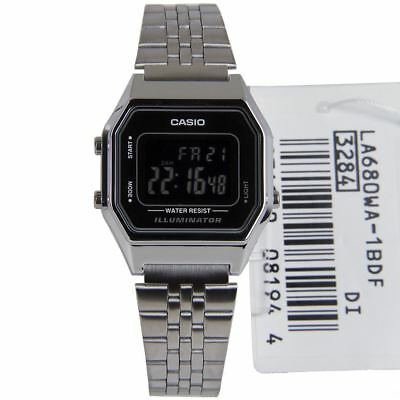 LA680WA-1B LA680WA Casio Illuminator Digital Alarm Stainless Steel Strap Watches