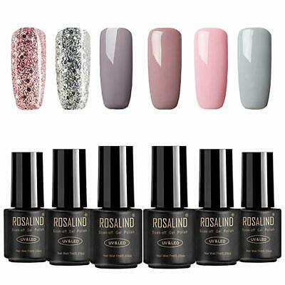 ROSALIND Gel Nail Polish Set With Rainbow Glitter For Manicure 6PCS 7ML