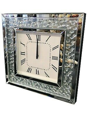 Square Floating Crystal Jewel Mirror Wall Hanging Analogue Clock Diamond Glamour