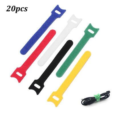 20pcs New Nylon Strap Hook and Loop Cord Ties Tidy Cable Organiser