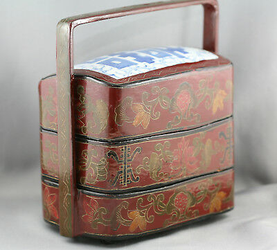 Lovely Antique Chinese Wedding Lacquer Basket w/Porcelain Tile Insert c1800s