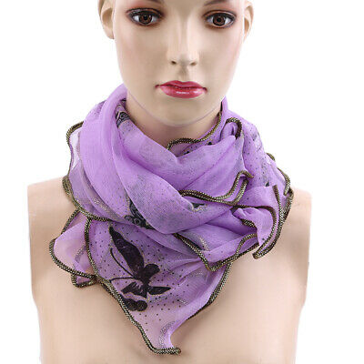 Women Ladies Lace-up Scarf Lady Wrap Outwear Shawl Scarf Butterfly Prints 8C