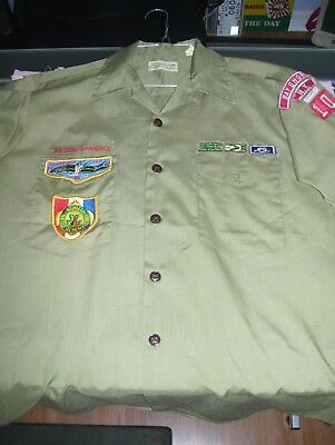 Old Vintage Boy Scout Of America Shirt Bay Shore New York Patches Badges