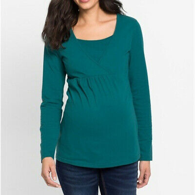 Pregnant Women Maternity Clothes Nursing Long Sleeve Top Breastfeeding Blouse 8C