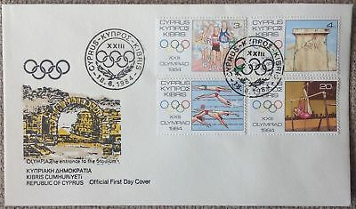 Cyprus 1984 Los Angeles Olympics (Swimming Gymnastics Athletics) Official Fdc