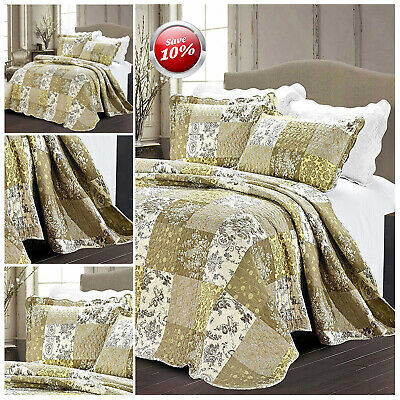 Luxury 3 Piece Patchwork Floral Quilted Bedspread Bedding Sets With Pillow Cases