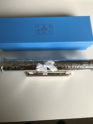Childhood Memories Silver Plated Baby's Birth Certificate Holder Blue New