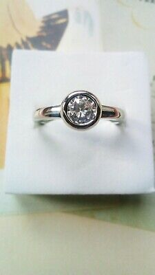 sterling silver Art Deco Vintage Round Halo Solitaire 1.5 White Sapphire Ring P