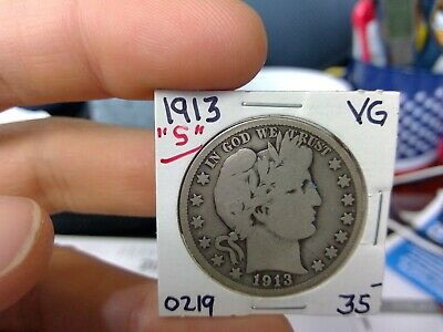 1913 S 50C Barber Half Dollar Circulated  90 % Silver US Coin  VG FINE ++ Rare