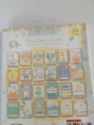 Hello World 24 Milestone Cards Baby Shower Party 1st Year Memorable Moments NEW