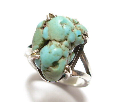 Beautiful Vintage Or Antique Silver & Turquoise Stone Ring (A36)