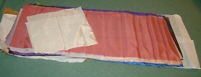 Antique Chinese Silk Fabric Lot -18 Pc. Many Colors, Dolls, Crazy Quilts, Unused