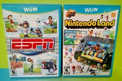 Nintendoland + ESPN Sports Connection  - Nintendo Wii U Game Lot - Complete !
