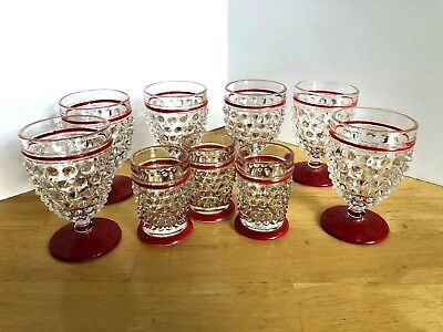 Vintage Set Of 9 Red Trimmed Hobnail Glasses In Two Sizes