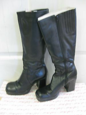 4ede50a6da5 Lord   Taylor Black Leather Knee High Wide Heel Dress Boots 8 1 2 M