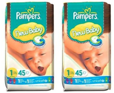 90 x Pampers New Baby Nappies with Wetness Indicator / Size 1 ( 2-5kg, 4-11lbs)