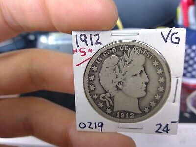 1912-S 50C Barber Half Dollar Circulated  90 % Silver US Coin Rare VG Fine +++