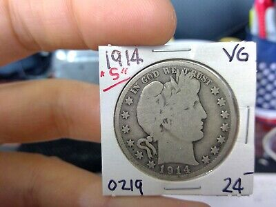 1914-S 50C Barber Half Dollar Circulated  90 % Silver US Coin Rare VG Fine +++