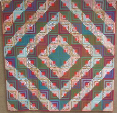 OUTSTANDING c 1870-80s Log Cabin ANTIQUE Quilt Mennonite Challis Jewel Tones