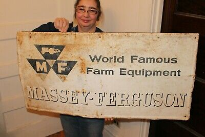 "Large Vintage 1950's Massey Ferguson Tractor Farm Gas Oil 40"" Metal Sign"