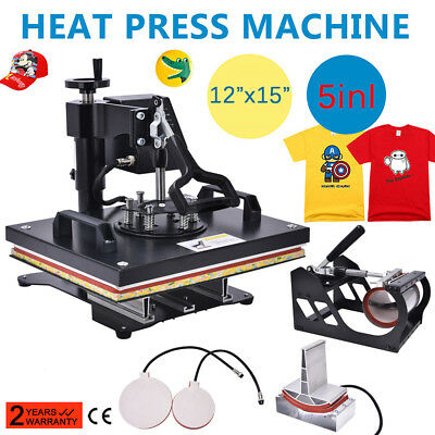 5 In 1 Digital Heat Press Machine Sublimation For T-Shirt /Mug/Plate Hat Printer