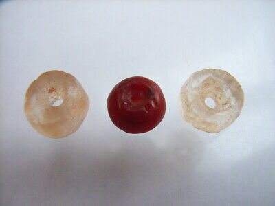 3 Ancient Neolithic Rock Crystal, Red Jasper Beads, Stone Age TOP!  RARE !!