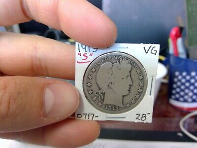 1913-S 50C Barber Half Dollar Circulated  90 % Silver US Coin Rare