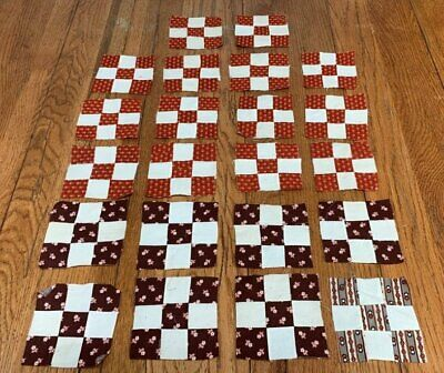Browns! c 1870s Nine Patch QUILT Blocks Small scale Antique