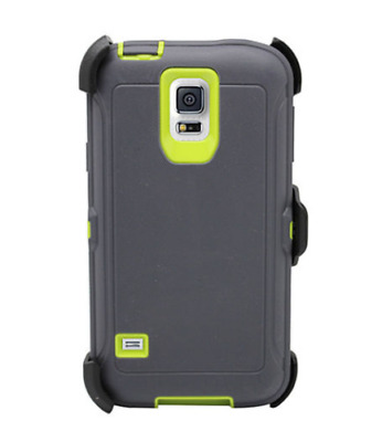 Authentic Samsung Galaxy S5 Case w/ Belt Clip Fits Otterbox Defender Gray Green
