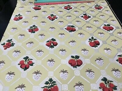 "EARLY 1900's ANTIQUE PRIMITIVE WALLPAPER RED FRUIT 18 3/4"" WIDE,"