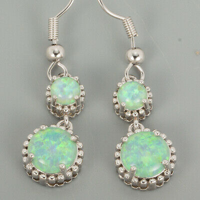 6mm&8mm Round Kiwi Green Fire Opal Cabochon Silver Jewelry Dangle Drop Earrings
