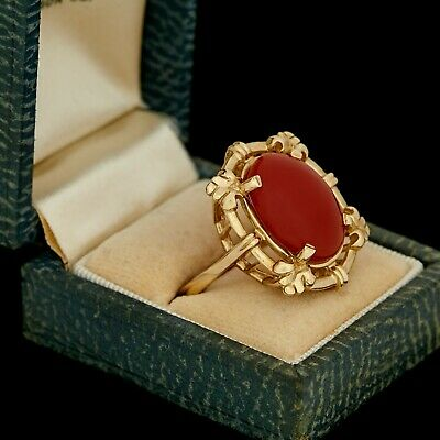 Antique Vintage Art Deco Retro 14k Yellow Gold Carnelian Fleur de Lis Ring Sz 10
