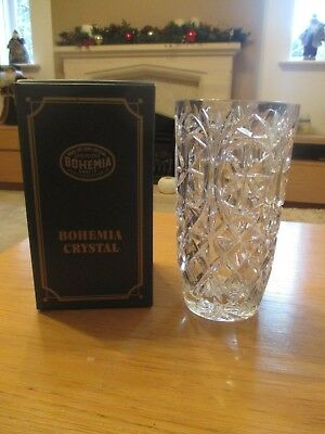 "Bohemia hand cut 24% lead crystal glass vase Czech Rep, height 8""/20cm NEW BOXED"