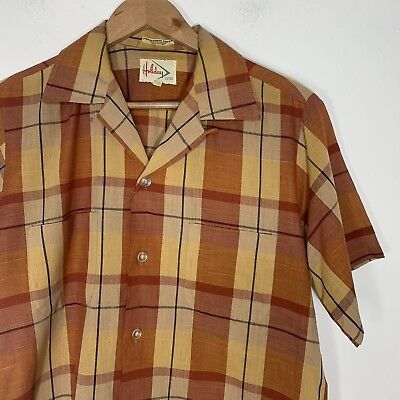 Vintage 1970's Holiday Mustard Yellow Red Plaid Button Up Short Sleeve Shirt S