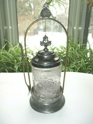 Victorian Silver Plate Pickle Castor Eapg Glass Jar Diagonal Band