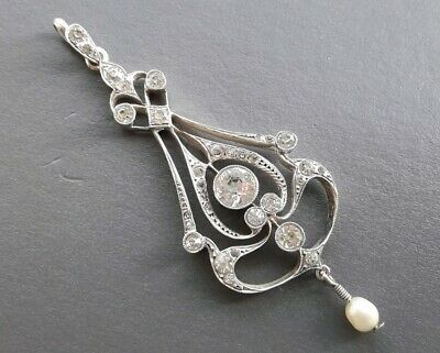 Antique Edwardian Solid Sterling Silver Lavalier Pendant Clear Stones Pearl Drop