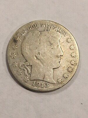 50c United States Coin - 1913-D Liberty Barber 90% Silver US Half Dollar