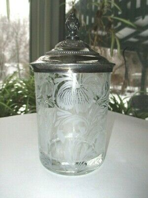 Victorian Silver Lid Pickle Castor Eapg Glass Jar Acid Etched Hibiscus Flowers