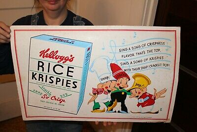"Rare Vintage 1939 Kellogg's Rice Krispies Cereal Grocery Store 25"" Sign"