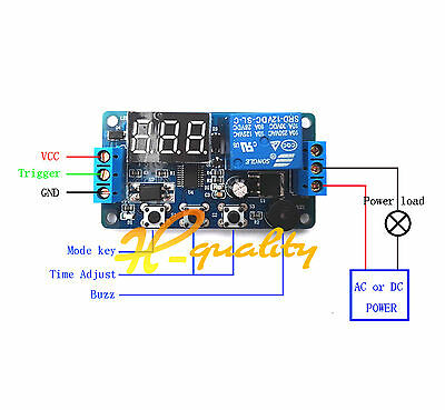 12V Programmable timer relay module Delay Timer Control Switch with LED