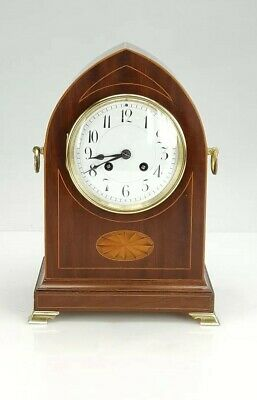 French Mahogany inlaid striking bracket clock