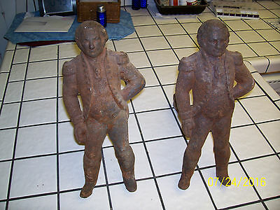 "Antique Late 1800's Pair Cast Iron ""GEORGE WASHINGTON"" Andirons/Fire Dogs"