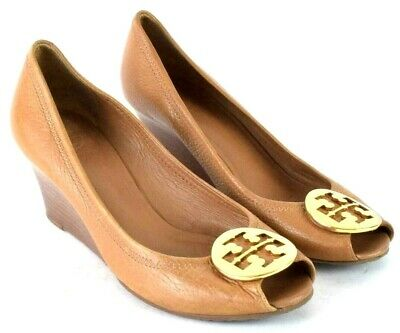1755a4b28155 Tory Burch Brown Leather Peep Toe Wedge Stacked Heel Pumps shoes Womens  Size 8 M
