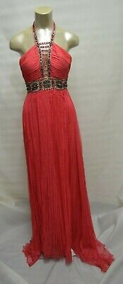 1fbcf97e7712 BCBG Max Azria ATELIER Gown Pink Embellished SILK Train Maxi RED CARPET  DRESS