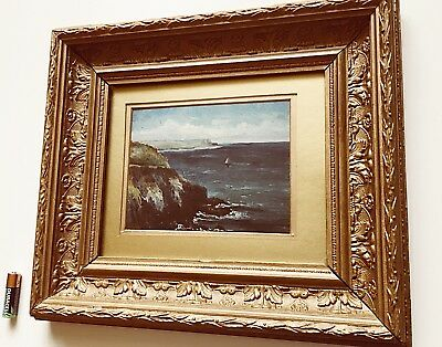Antique Oil Painting Seascape Wood & Gilt Gesso Frame Late 19th Century