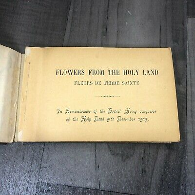 Authentic Antique 1918 Jerusalem Pressed Flowers Views Holy Land Olive Wood Book