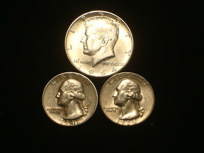 $1.00 Face Value 90% Silver Lot Of 3  1-1964 Kennedy And 2-Washington Quarters