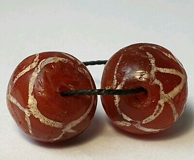2 Ancient Rare Pyu Etched Agate Carnelian Beads
