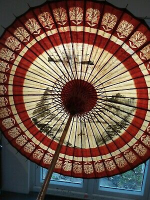 Antique Vintage Chinese Parasol/sun Shade. Paper/bamboo
